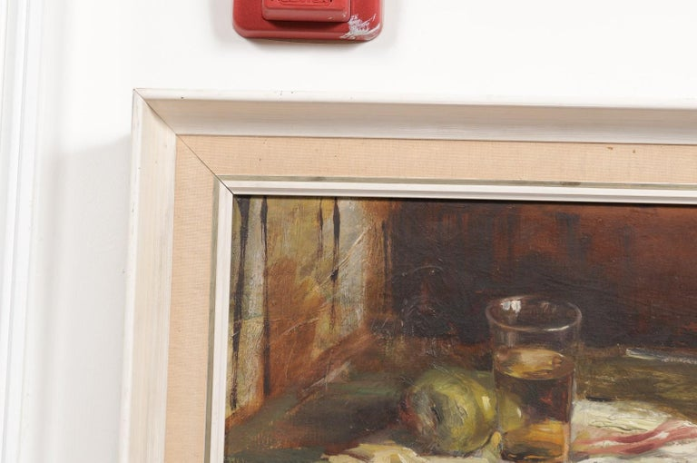 Hand-Painted English 20th Century Framed Oil on Canvas Still-Life Painting Depicting Fruits For Sale