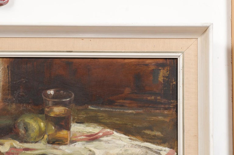 English 20th Century Framed Oil on Canvas Still-Life Painting Depicting Fruits In Good Condition For Sale In Atlanta, GA