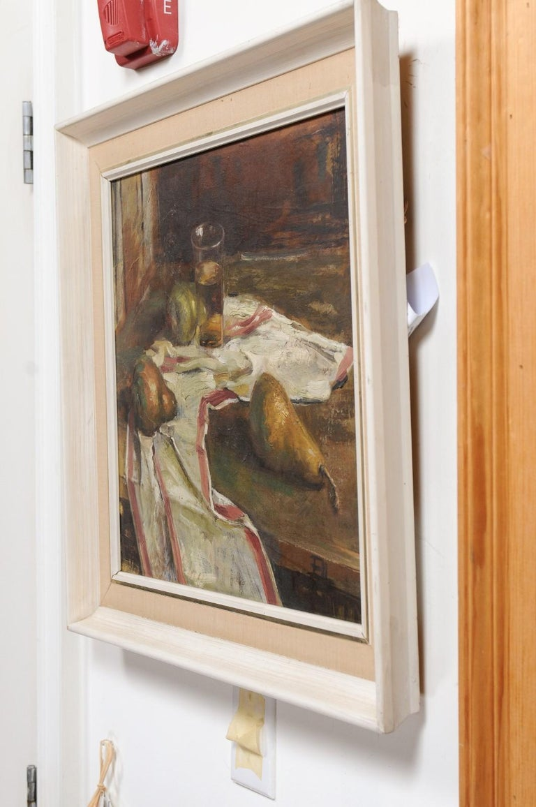 English 20th Century Framed Oil on Canvas Still-Life Painting Depicting Fruits For Sale 5