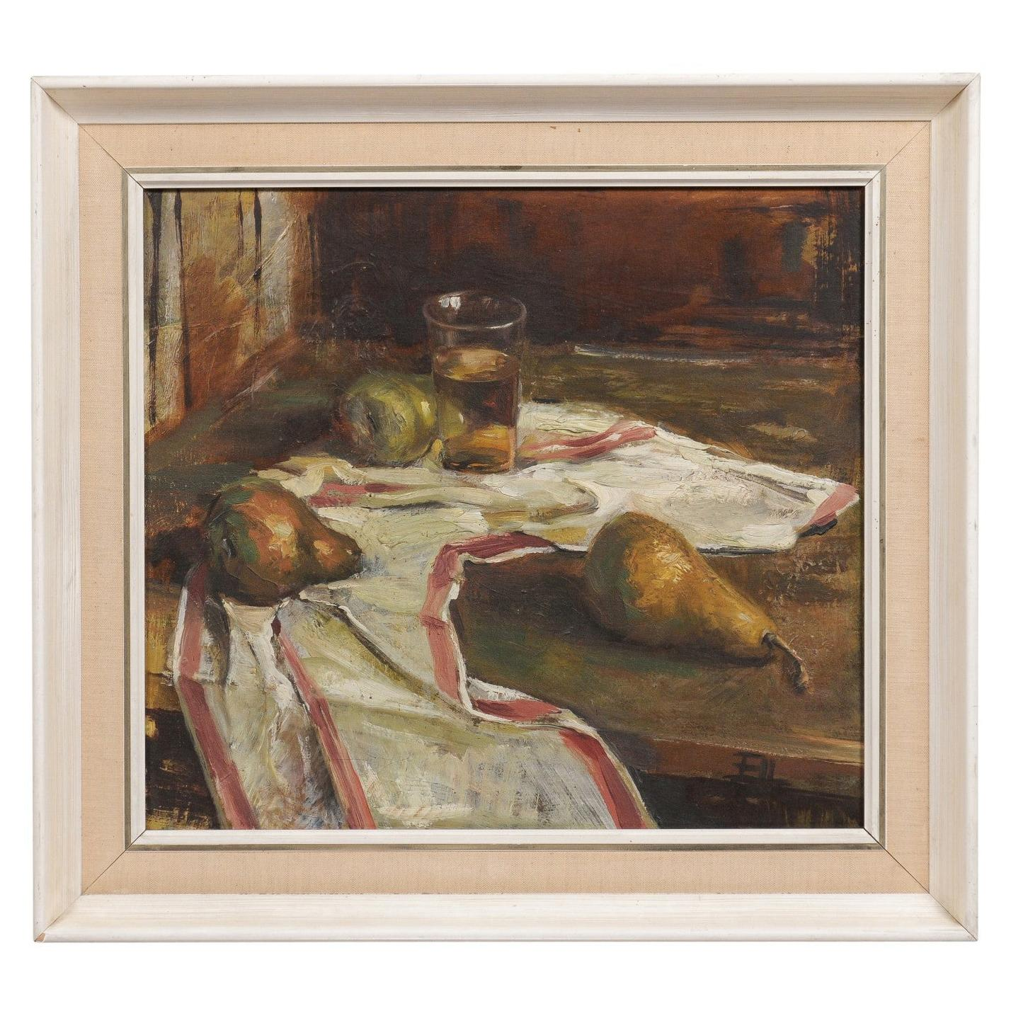 English 20th Century Framed Oil on Canvas Still-Life Painting Depicting Fruits