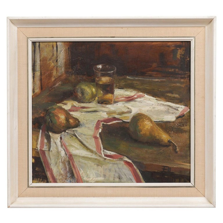 English 20th Century Framed Oil on Canvas Still-Life Painting Depicting Fruits For Sale