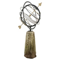 English 20th Century Painted Armillary Sphere on 19th Century Pedestal