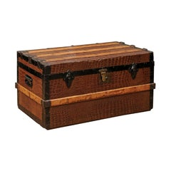 English 20th Century Wood Bound Trunk with Iron Details
