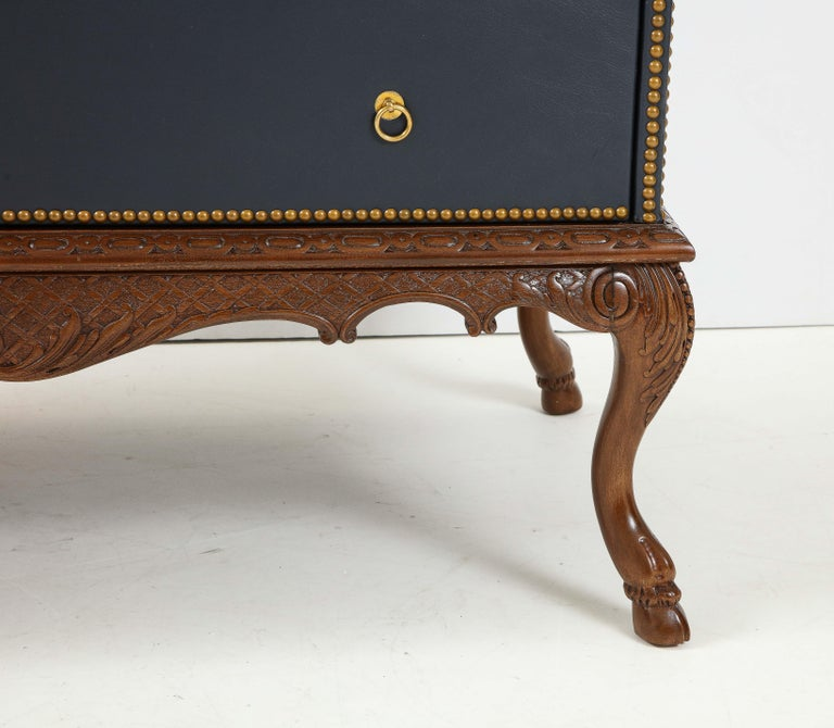 English 3 Drawer Leather Chest on Carved Walnut Stand For Sale 4