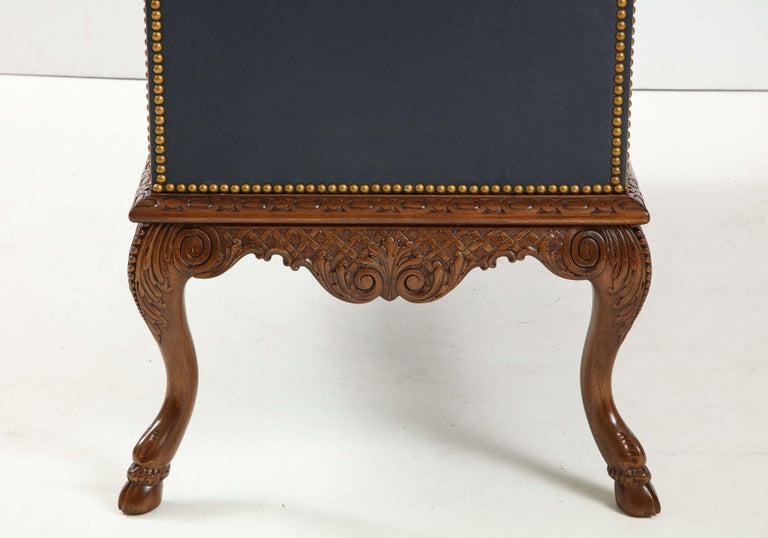 English 3 Drawer Leather Chest on Carved Walnut Stand For Sale 5