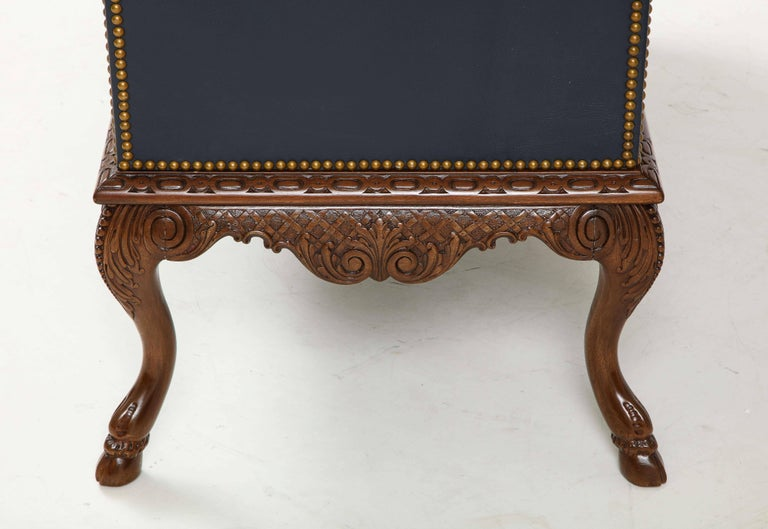 English 3 Drawer Leather Chest on Carved Walnut Stand For Sale 6