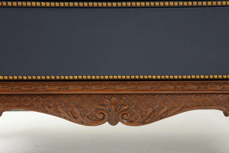 English 3 Drawer Leather Chest on Carved Walnut Stand For Sale 7