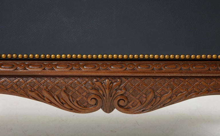 English 3 Drawer Leather Chest on Carved Walnut Stand For Sale 8