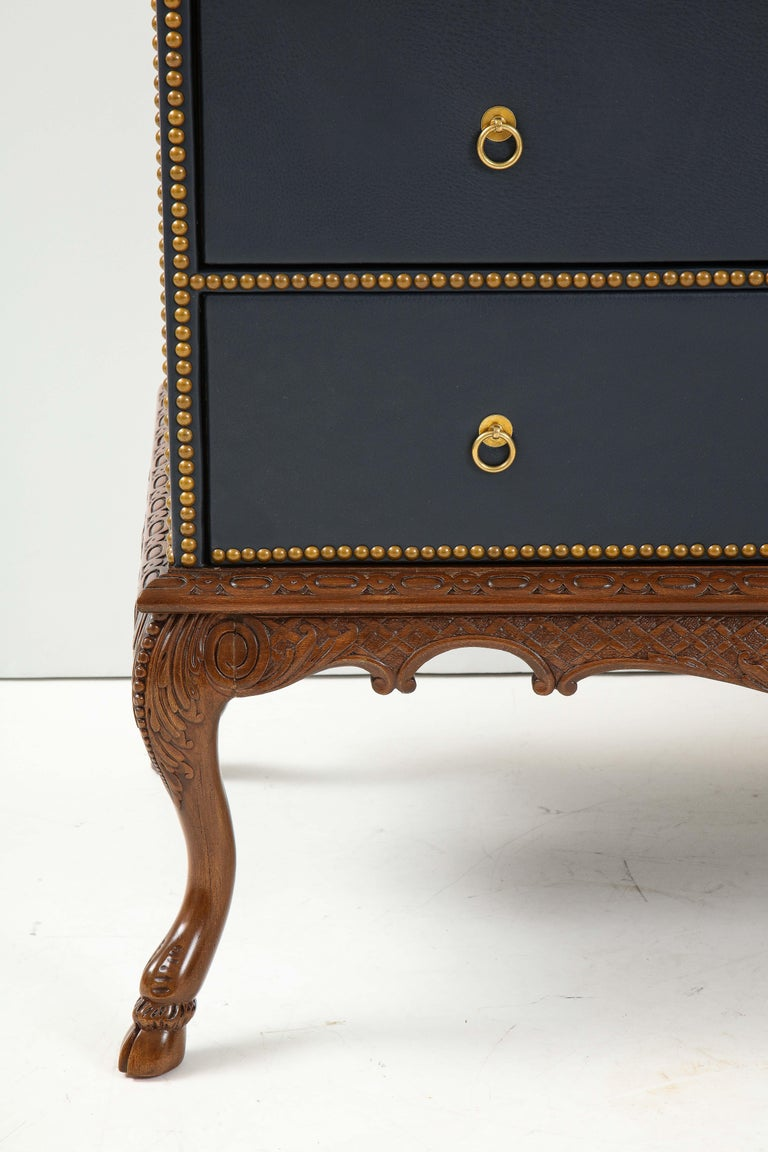 English 3 Drawer Leather Chest on Carved Walnut Stand For Sale 9