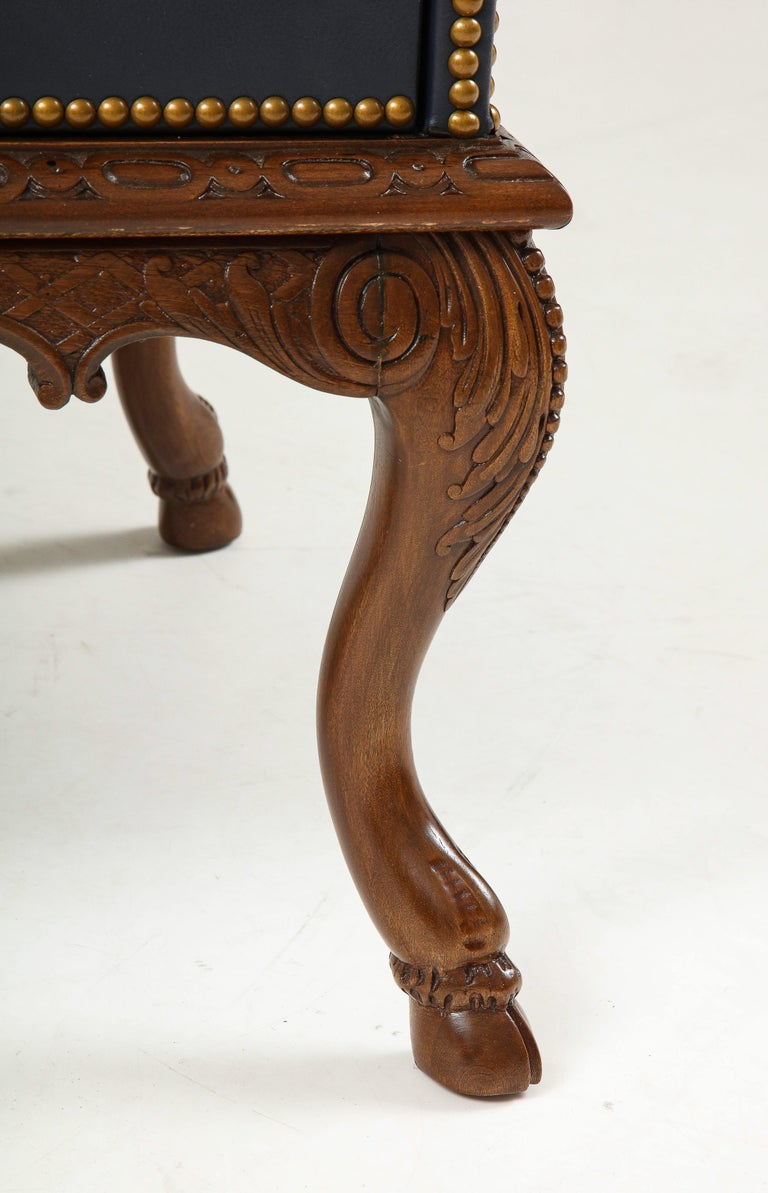 English 3 Drawer Leather Chest on Carved Walnut Stand For Sale 10