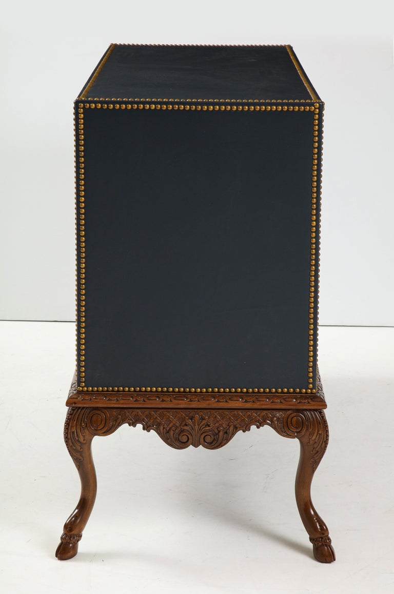 Regency English 3 Drawer Leather Chest on Carved Walnut Stand For Sale