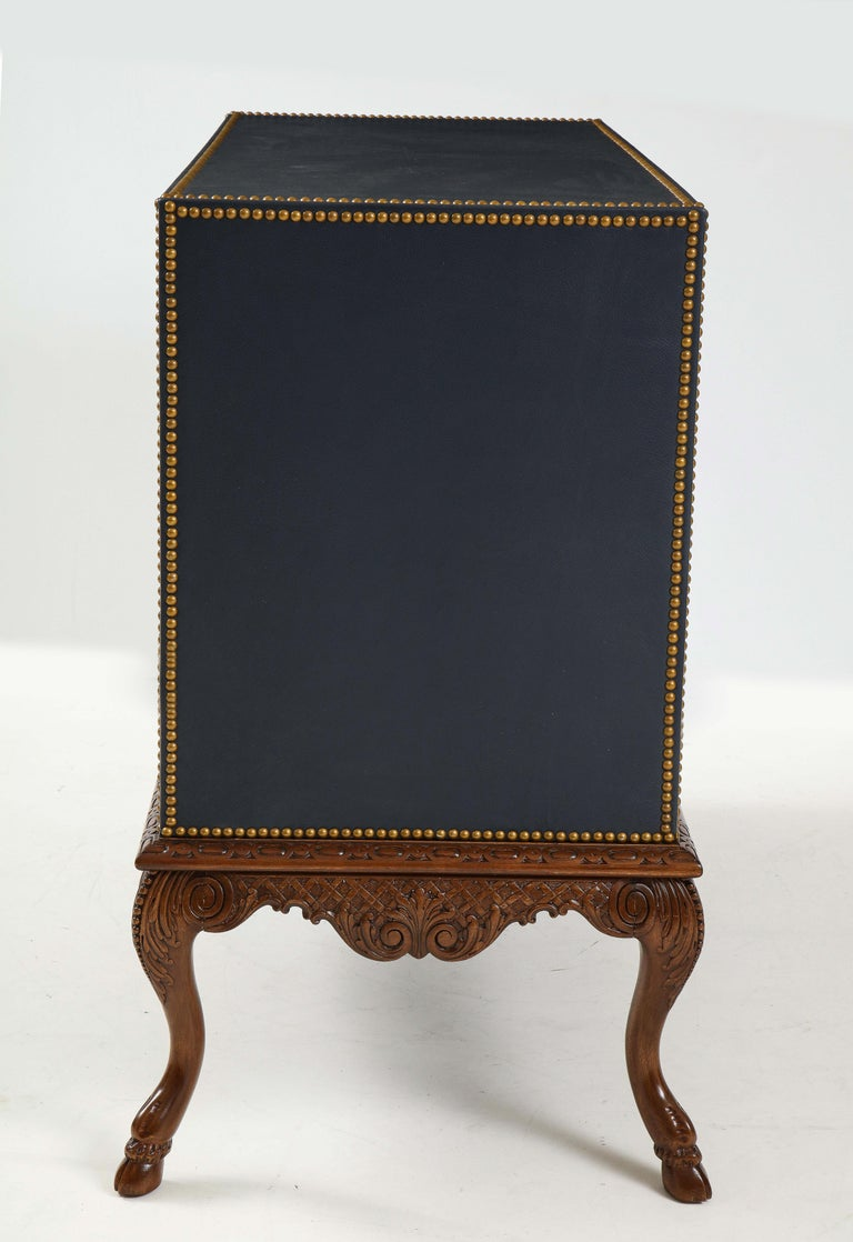 Hand-Carved English 3 Drawer Leather Chest on Carved Walnut Stand For Sale