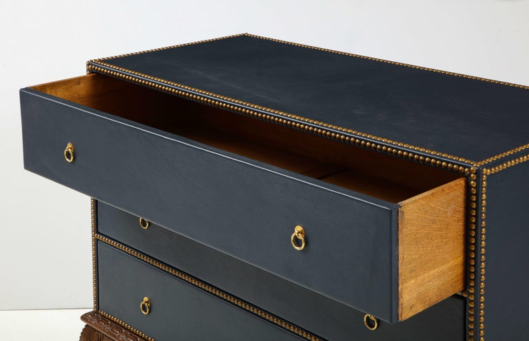 20th Century English 3 Drawer Leather Chest on Carved Walnut Stand For Sale