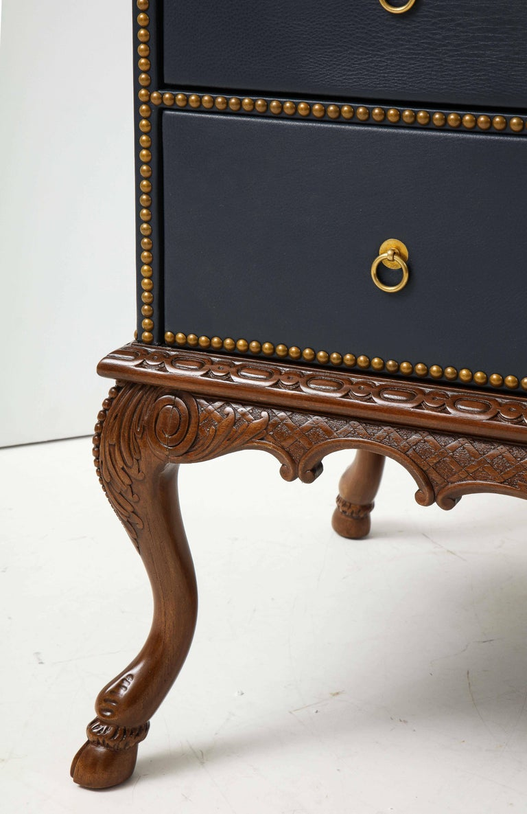 English 3 Drawer Leather Chest on Carved Walnut Stand For Sale 3