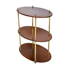 English 3-Tier Brass and Mahogany Bar & Glass Stand with Polished Brass Armature