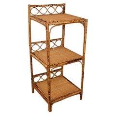 English 3 Tier Burnt Bamboo Chinoiserie Shelf or Nightstand with Woven Cane Top