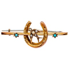 English 9 Karat Gold Brooch Seed Pearls and Persian Turquoise, 1910s