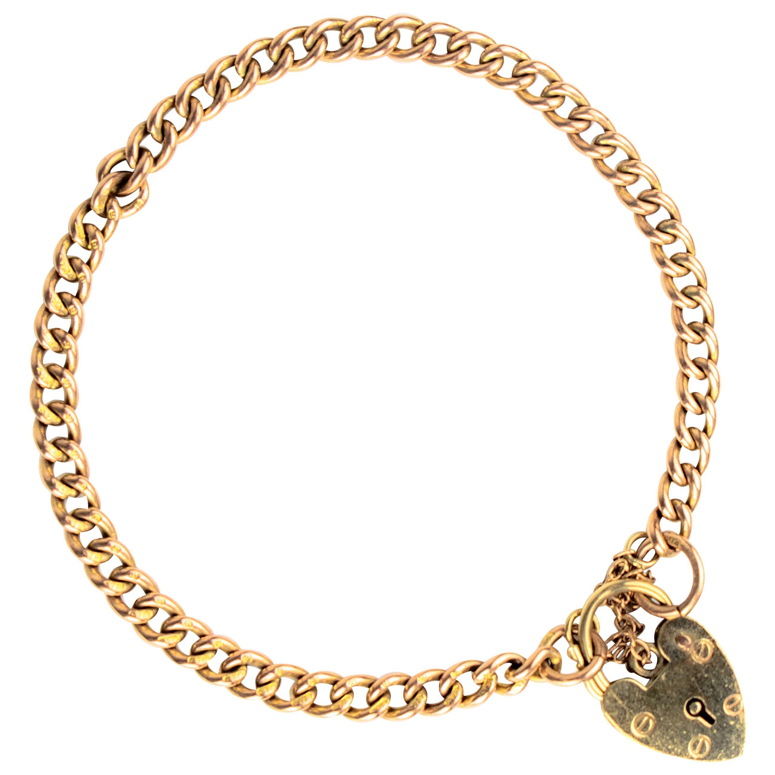 English 9 Karat Rose Gold Charm Bracelet, Birmingham, 1970s