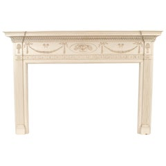 English Adam Style '1920s' White Painted Wood Fireplace Mantel