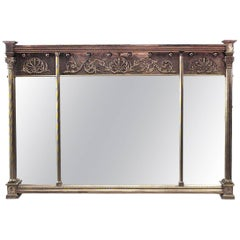 English Adam Style Horizontal Three-Panel Wall Mirror