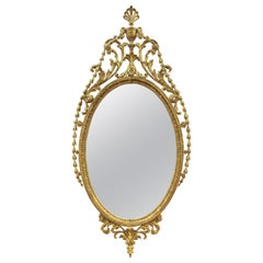 English Adam Style Carved Oval Giltwood Mirror