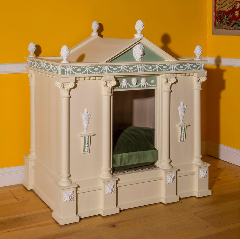 Greek Revival Antique Neoclassical Cream Painted Dog Bed or Dog House For Sale