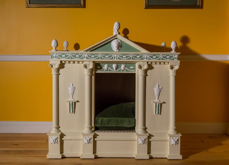 Antique Neoclassical Cream Painted Dog Bed or Dog House For Sale 1