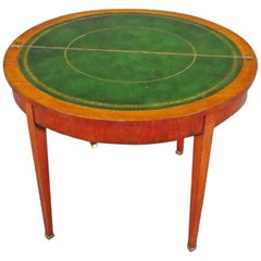 English Adams Paint Decorated Satinwood Leather Top Games Card Table circa 1820s