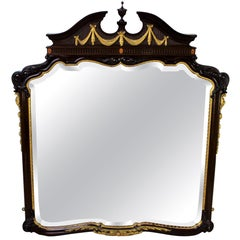 English Adams Style Mahogany Wall Mirror or Over-Mantle