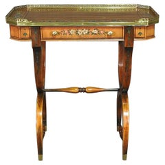English Adams Style Petite Writing Table Desk with Brass Gallery and Drawer