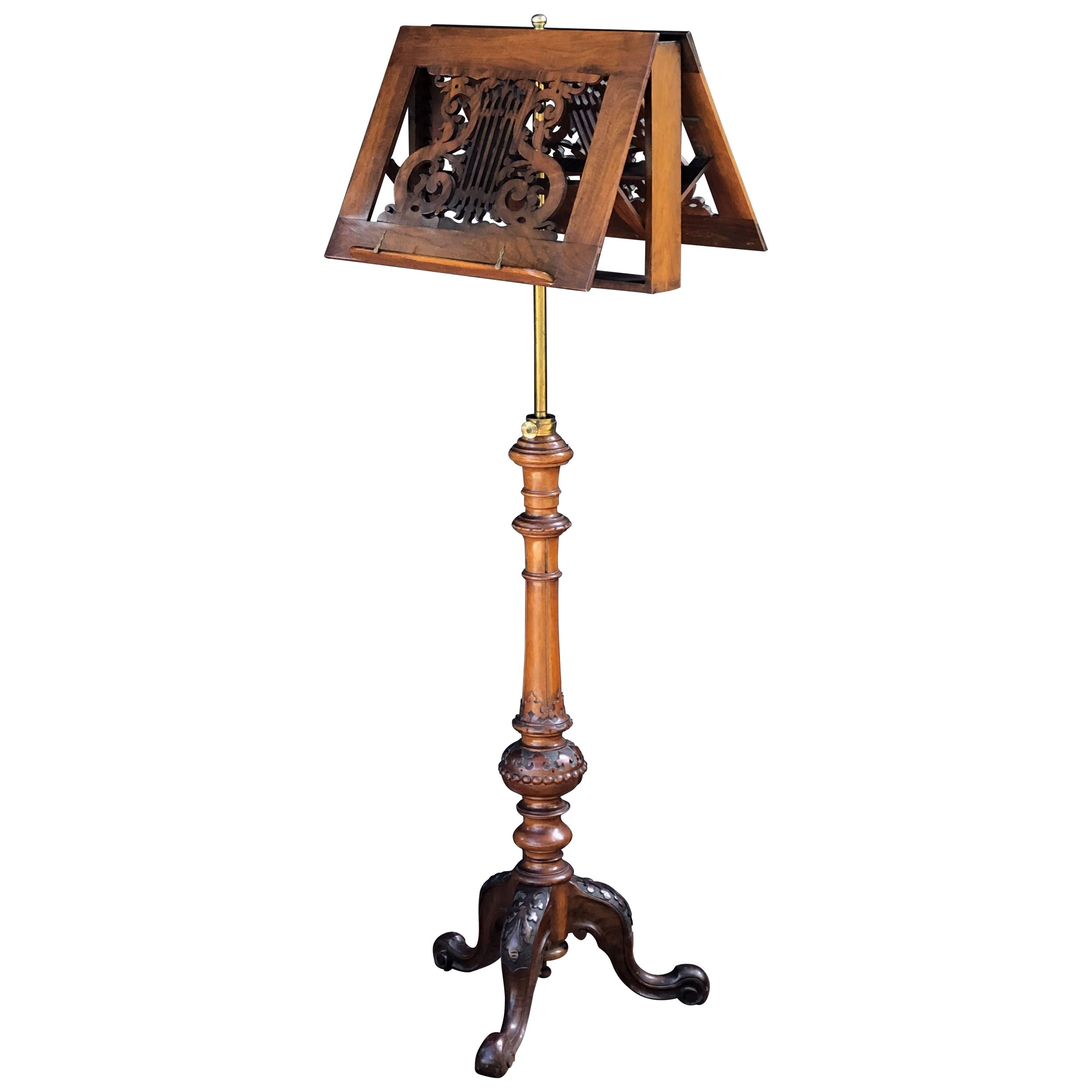 English Adjustable Duet Music Stand of Carved Walnut