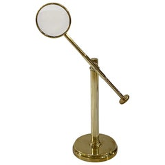 English Adjustable Standing Desk Magnifier of Brass