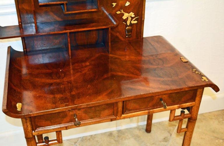 English Aesthetic Movement Artfully Decorated Bamboo and Wood Secretary Desk For Sale 4