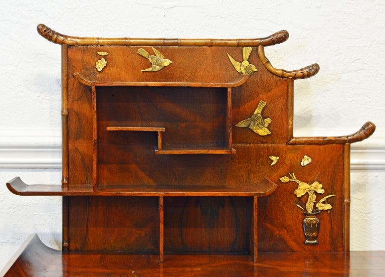 19th Century English Aesthetic Movement Artfully Decorated Bamboo and Wood Secretary Desk For Sale