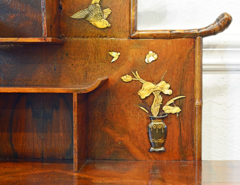 English Aesthetic Movement Artfully Decorated Bamboo and Wood Secretary Desk For Sale 1