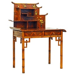 English Aesthetic Movement Artfully Decorated Bamboo and Wood Secretary Desk