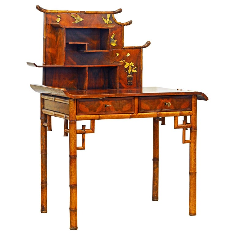 English Aesthetic Movement Artfully Decorated Bamboo and Wood Secretary Desk For Sale