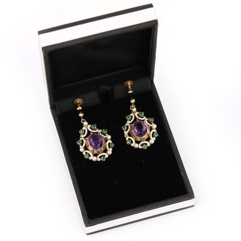 English Amethyst, Emerald, Pearl and Enamel Suffragette Style Drop Earrings 6