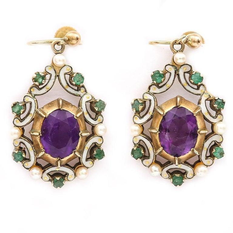 Retro English Amethyst, Emerald, Pearl and Enamel Suffragette Style Drop Earrings