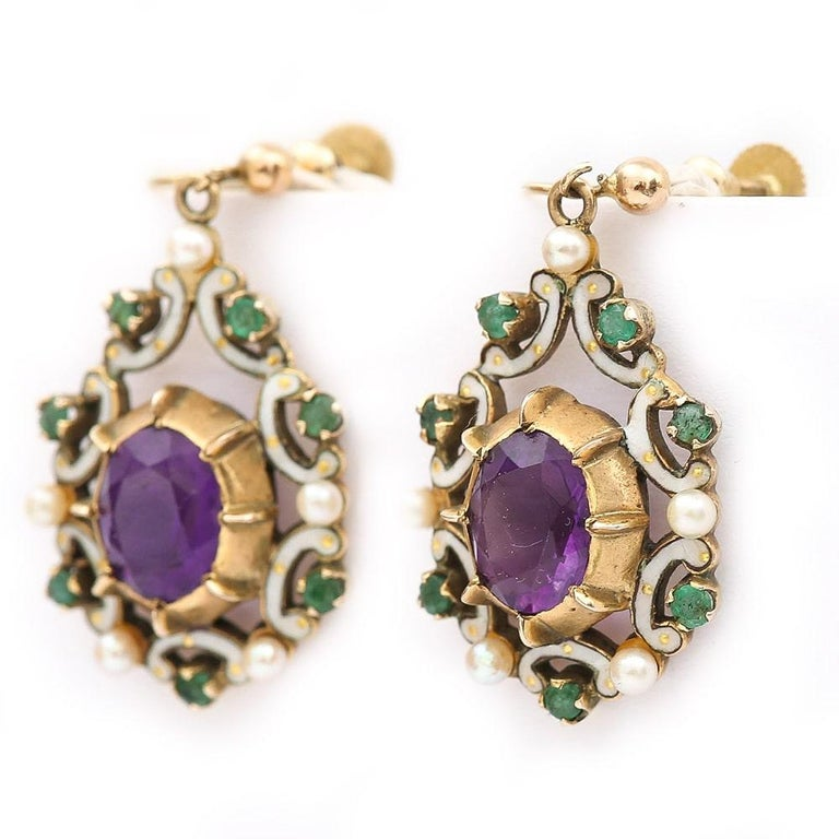 Round Cut English Amethyst, Emerald, Pearl and Enamel Suffragette Style Drop Earrings