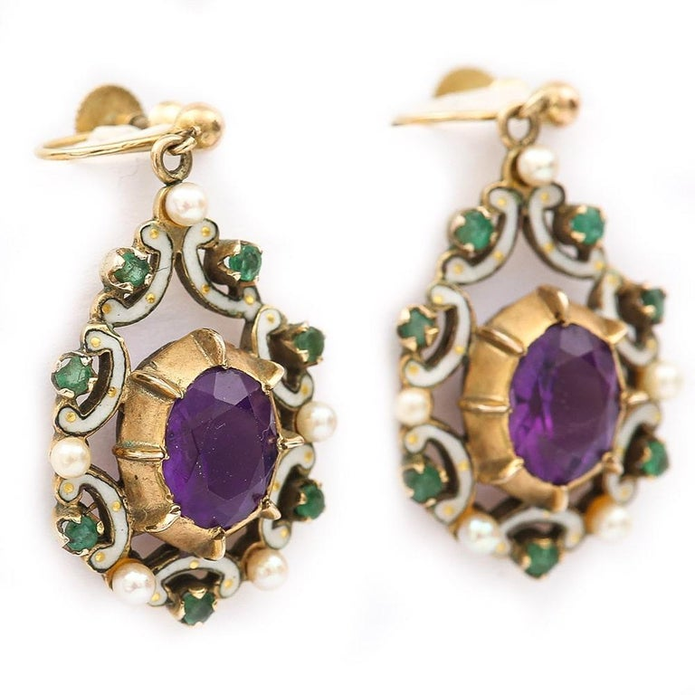 English Amethyst, Emerald, Pearl and Enamel Suffragette Style Drop Earrings In Good Condition In Lancashire, Oldham