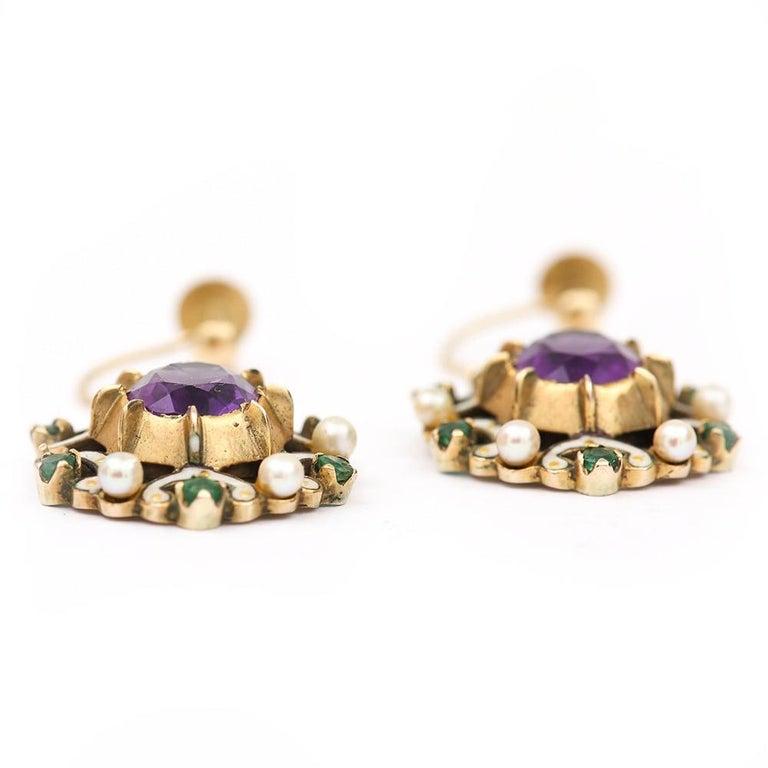 English Amethyst, Emerald, Pearl and Enamel Suffragette Style Drop Earrings 1