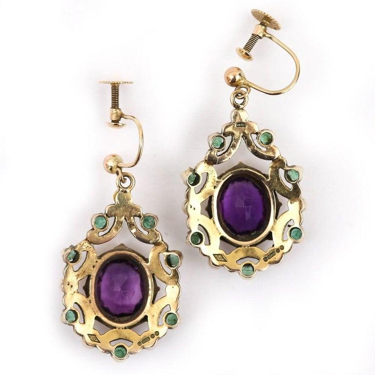 English Amethyst, Emerald, Pearl and Enamel Suffragette Style Drop Earrings 3