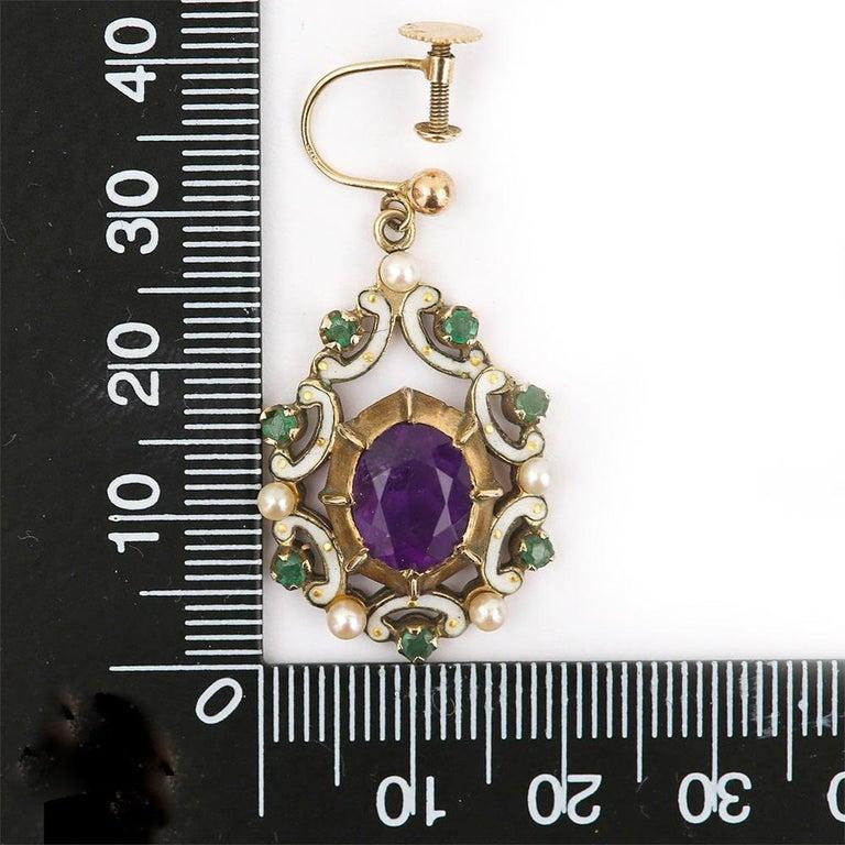 English Amethyst, Emerald, Pearl and Enamel Suffragette Style Drop Earrings 4