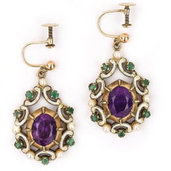 English Amethyst, Emerald, Pearl and Enamel Suffragette Style Drop Earrings