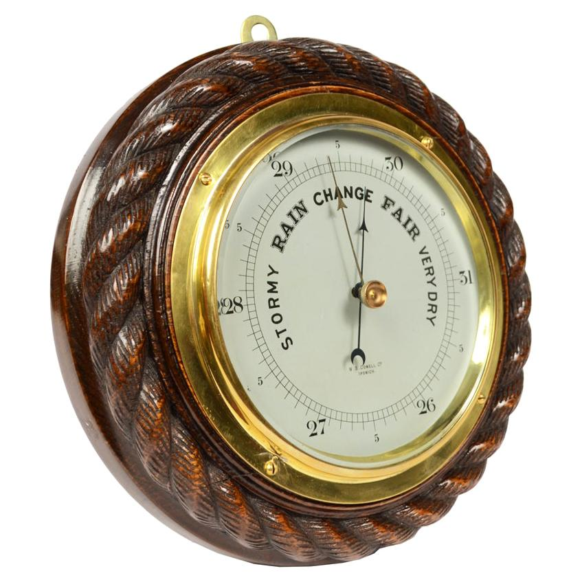 Antique Nautical English Oak Wood Aneroid Barometer Made in the Early 1900s