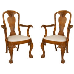 English Anglo-Indian Padouk Arm Chairs
