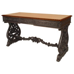 English Anglo-Indian Rosewood and Padouk Writing Table