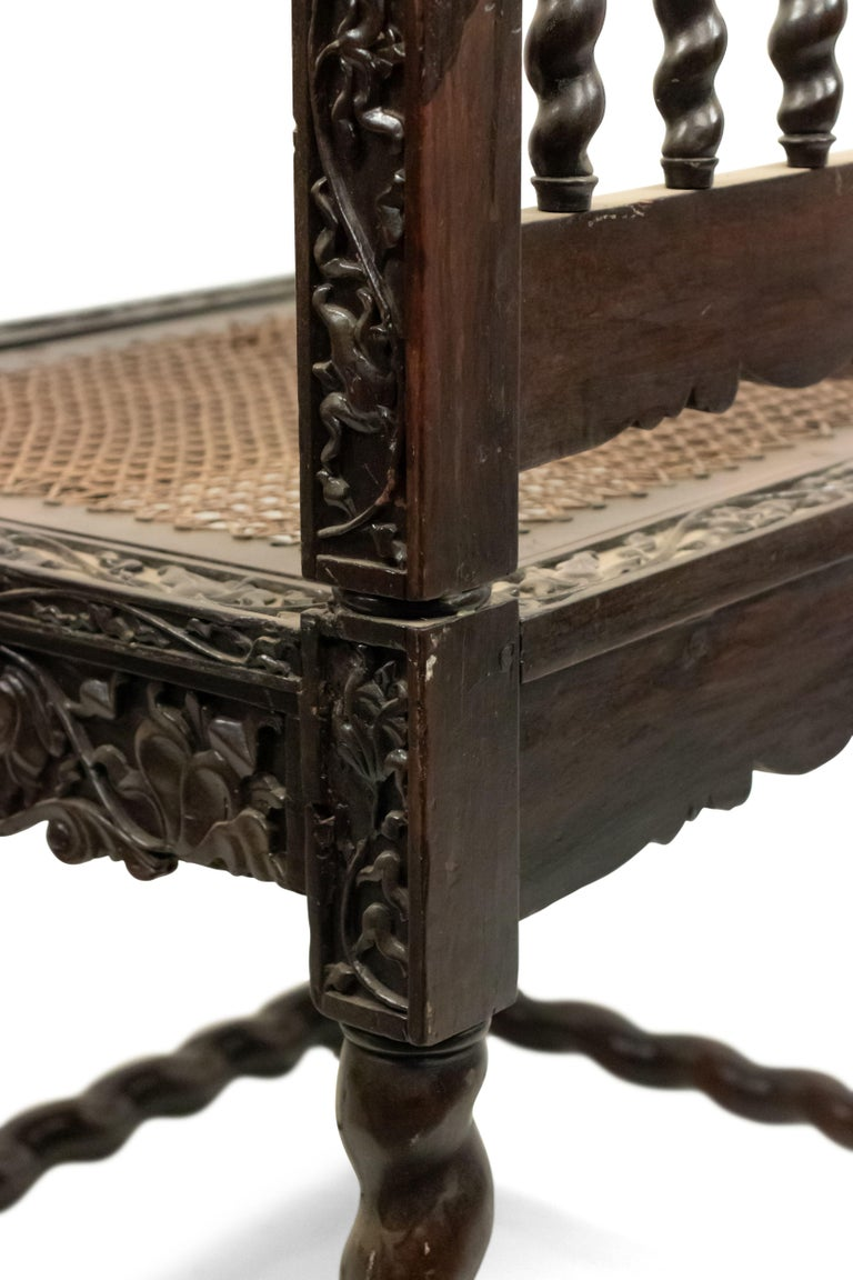 Set of Four English Anglo Indian Rosewood Carved Side Chairs For Sale 5