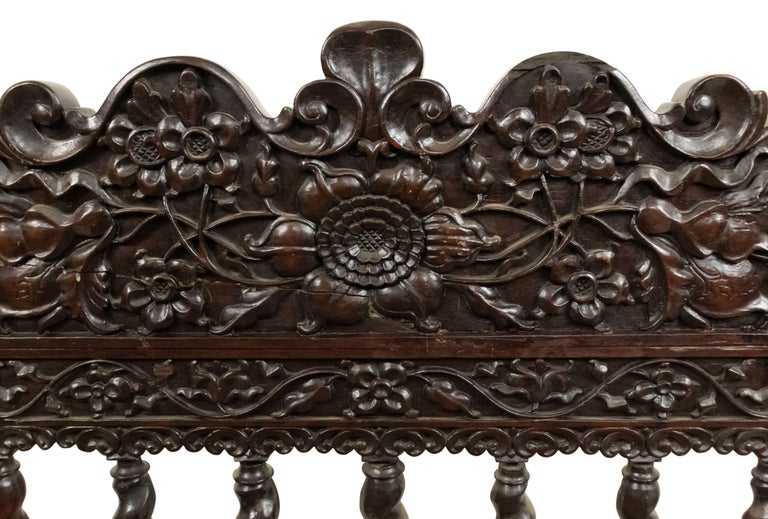 Set of Four English Anglo Indian Rosewood Carved Side Chairs For Sale 8